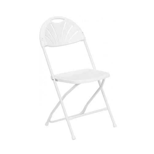 Fanback Folding Chair - White
