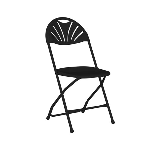 Fanback Folding Chair - Black