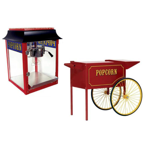 Antique Style Popcorn Machine w/ cart