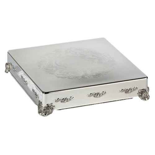 Silver Cake Stand Traditional 18 inch Square