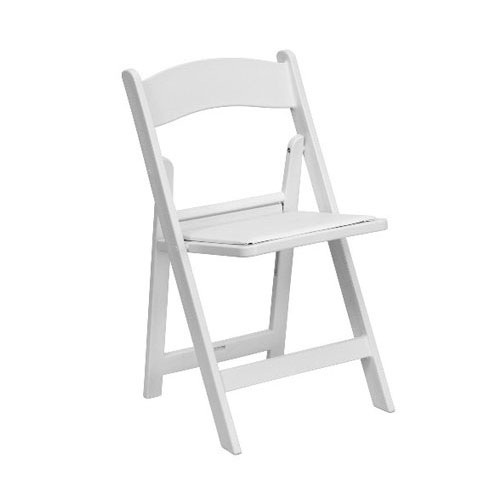 Garden Chair with Padded Seat - White