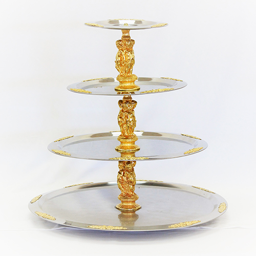 4 Tier SS Stand w/Gold Detail