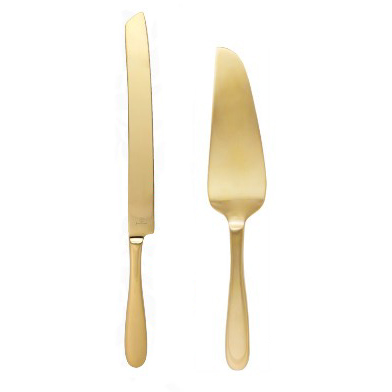Cake Knife & Server, Gold Modern