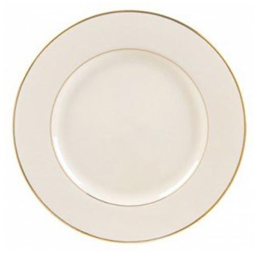 Gold Rimmed Ivory Dinner Plate