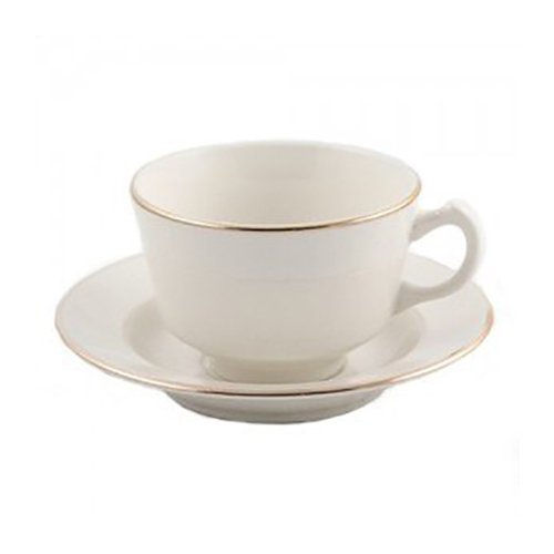 Gold Rimmed Ivory Coffee Cup & Saucer