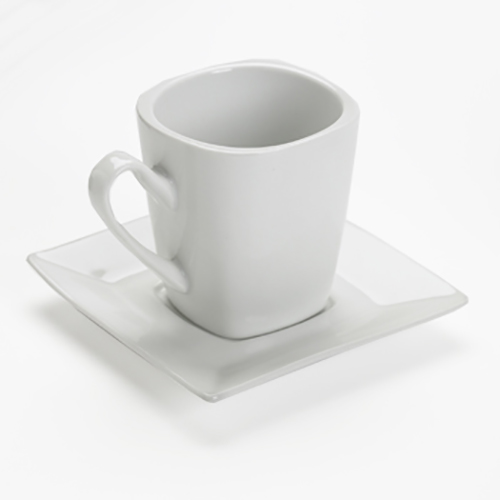 White Square Coffee Cup & Saucer