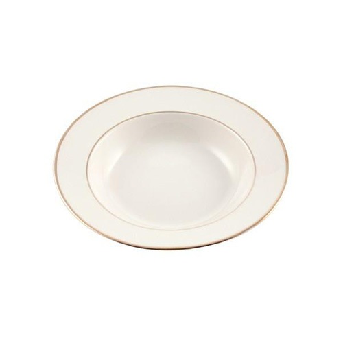 Gold Rimmed Ivory Soup Bowl