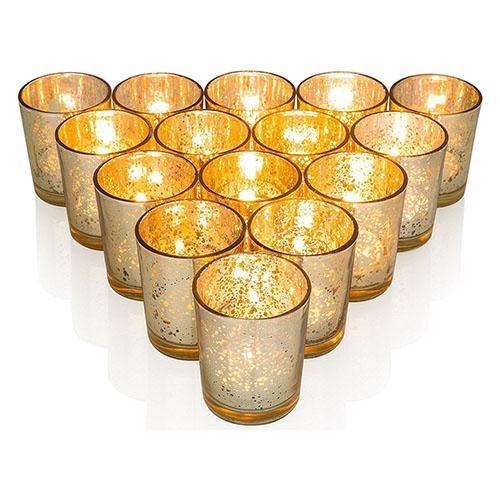 Gold Mercury Glass Votive Holder, Medium