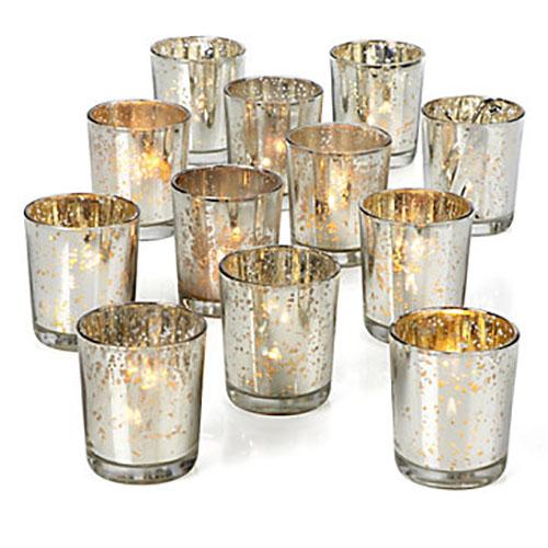 Silver Mercury Glass Votive Holder, Small