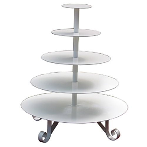 5 Tier White Round Metal Cupcake Stand