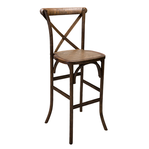 X Back Farm Bar Stool, Antique