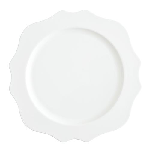 White Scalloped Dinner Plate