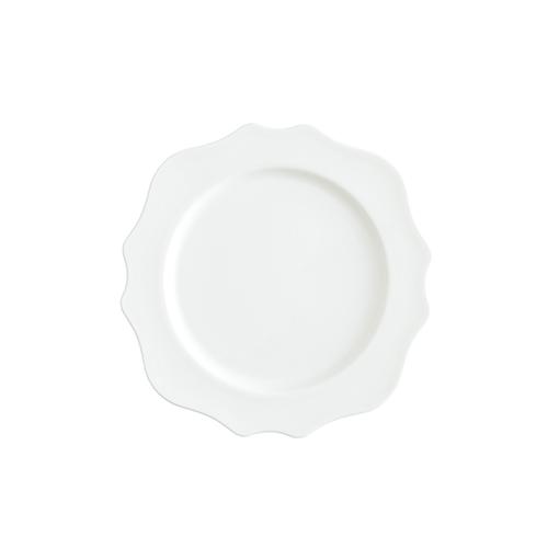 White Scalloped Salad/Dessert Plate