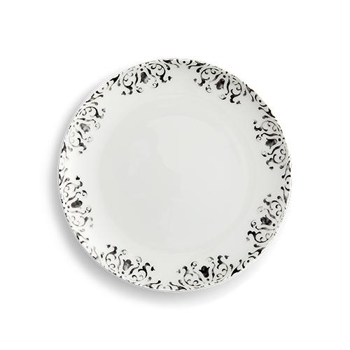 Black Watercolor Rimmed Salad/Dessert Plate